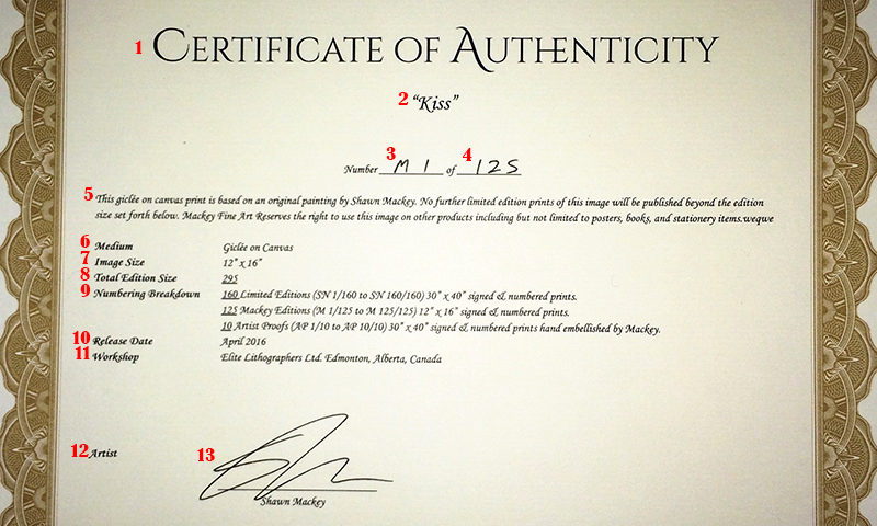 What is a certificate of authenticity how to create art for Limited edition print certificate of authenticity template